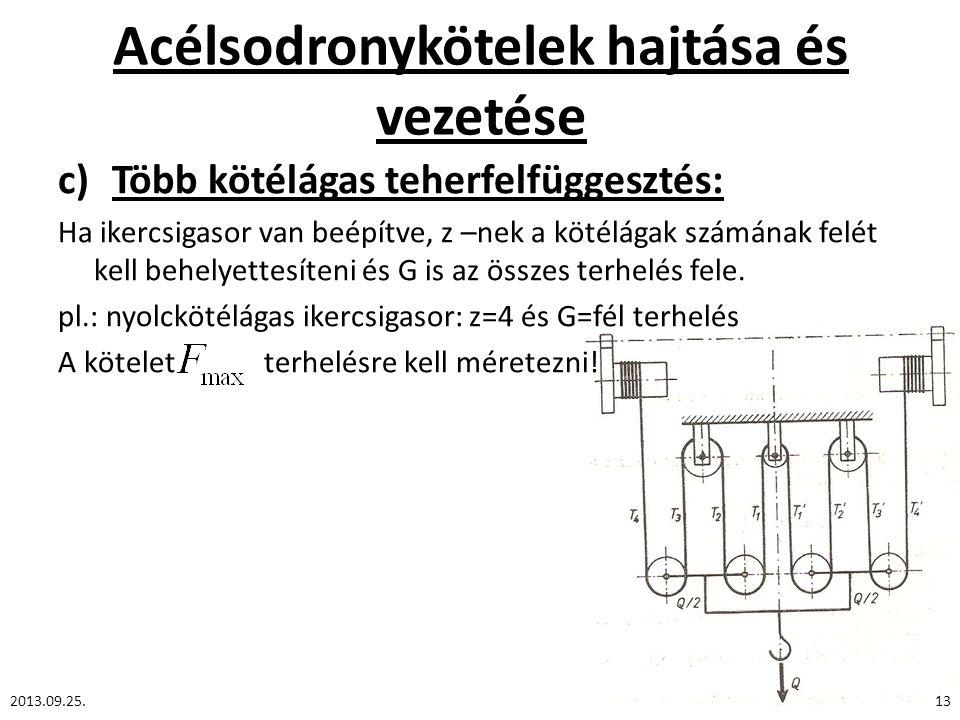 Acélsodronykötelek hajtása és vezetése c)Több kötélágas teherfelfüggesztés: Ha ikercsigasor van beépítve, z –nek a kötélágak számának felét kell behel