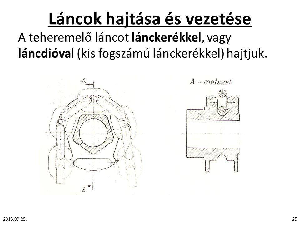 Láncok hajtása és vezetése A teheremelő láncot lánckerékkel, vagy láncdióval (kis fogszámú lánckerékkel) hajtjuk. 2013.09.25.25