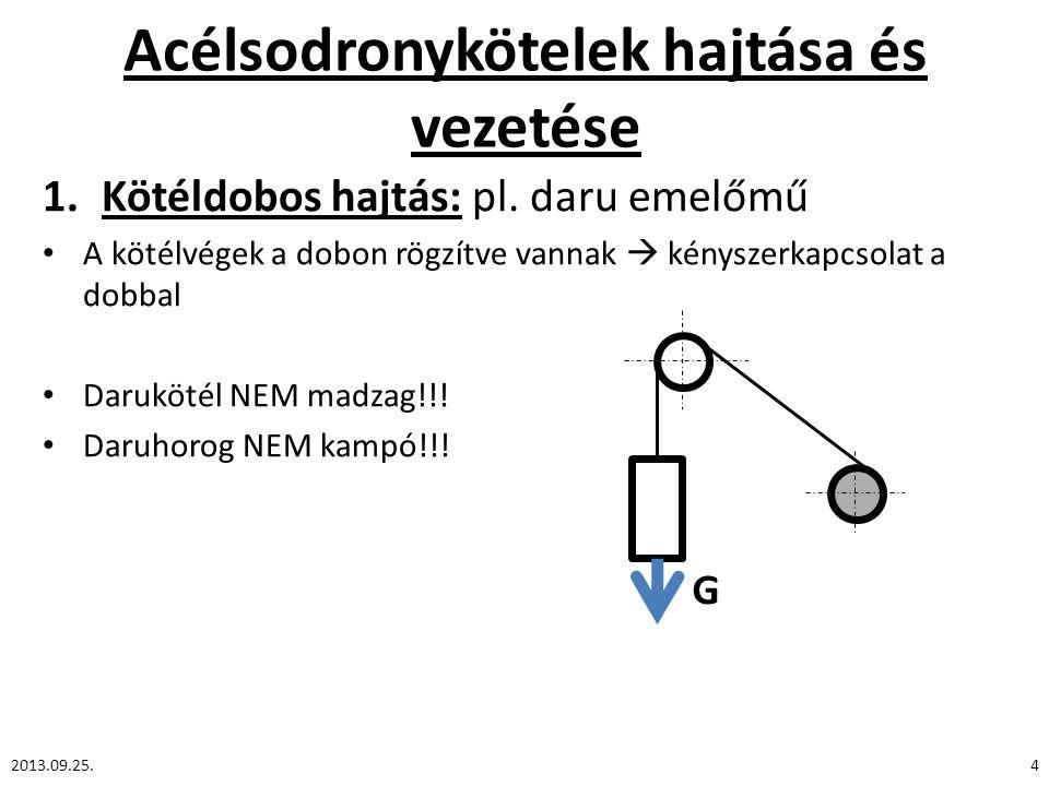 Acélsodronykötelek hajtása és vezetése 1.Kötéldobos hajtás: pl. daru emelőmű A kötélvégek a dobon rögzítve vannak  kényszerkapcsolat a dobbal Daruköt