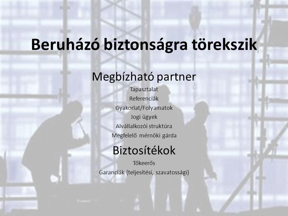 Beruházó biztonságra törekszik Megbízható partner Tapasztalat Referenciák Gyakorlat/Folyamatok Jogi ügyek Alvállalkozói struktúra Megfelelő mérnöki gá