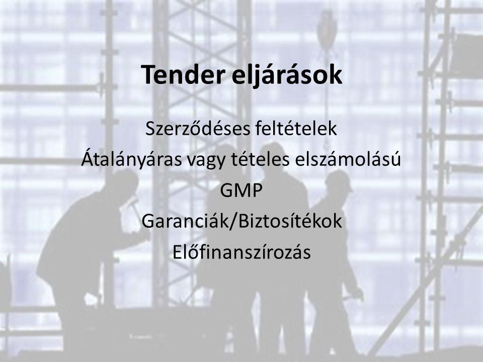 Tender eljárások Szerződéses feltételek Átalányáras vagy tételes elszámolású GMP Garanciák/Biztosítékok Előfinanszírozás