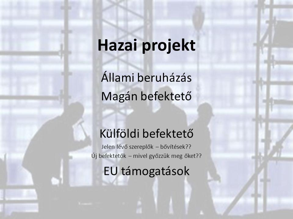 Hazai projekt Állami beruházás Magán befektető Külföldi befektető Jelen lévő szereplők – bővítések?? Új befektetők – mivel győzzük meg őket?? EU támog