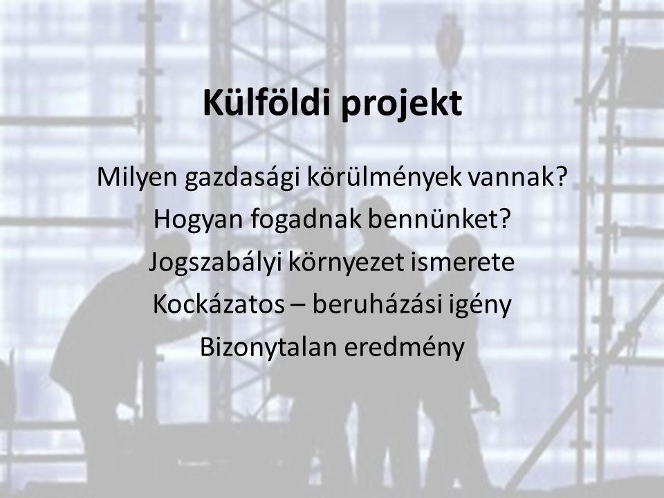 Külföldi projekt Milyen gazdasági körülmények vannak? Hogyan fogadnak bennünket? Jogszabályi környezet ismerete Kockázatos – beruházási igény Bizonyta