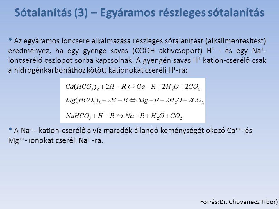 Sótalanítás (3) – Egyáramos részleges sótalanítás Az egyáramos ioncsere alkalmazása részleges sótalanítást (alkálimentesítést) eredményez, ha egy gyenge savas (COOH aktívcsoport) H + - és egy Na + - ioncserélő oszlopot sorba kapcsolnak.