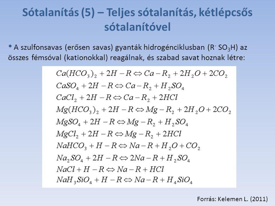Sótalanítás (5) – Teljes sótalanítás, kétlépcsős sótalanítóvel A szulfonsavas (erősen savas) gyanták hidrogénciklusban (R - SO 3 H) az összes fémsóval (kationokkal) reagálnak, és szabad savat hoznak létre: Forrás: Kelemen L.