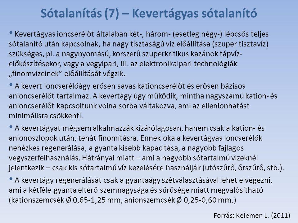 Sótalanítás (7) – Kevertágyas sótalanító Kevertágyas ioncserélőt általában két-, három- (esetleg négy-) lépcsős teljes sótalanító után kapcsolnak, ha nagy tisztaságú víz előállítása (szuper tisztavíz) szükséges, pl.