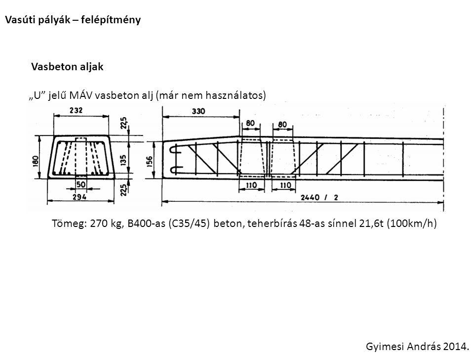 """Vasúti pályák – felépítmény Vasbeton aljak """"U"""" jelű MÁV vasbeton alj (már nem használatos) Tömeg: 270 kg, B400-as (C35/45) beton, teherbírás 48-as sín"""