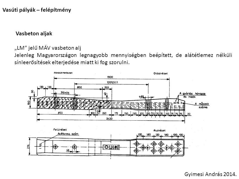"""Vasúti pályák – felépítmény Vasbeton aljak """"LM"""" jelű MÁV vasbeton alj Jelenleg Magyarországon legnagyobb mennyiségben beépített, de alátétlemez nélkül"""