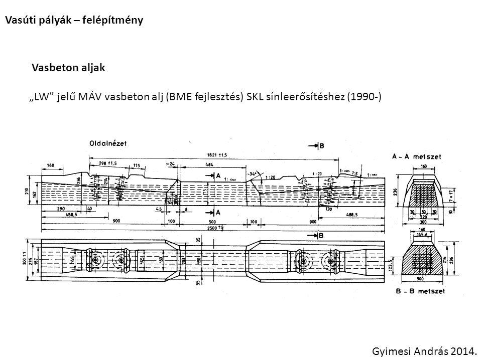"""Vasúti pályák – felépítmény Vasbeton aljak """"LW"""" jelű MÁV vasbeton alj (BME fejlesztés) SKL sínleerősítéshez (1990-) Gyimesi András 2014."""