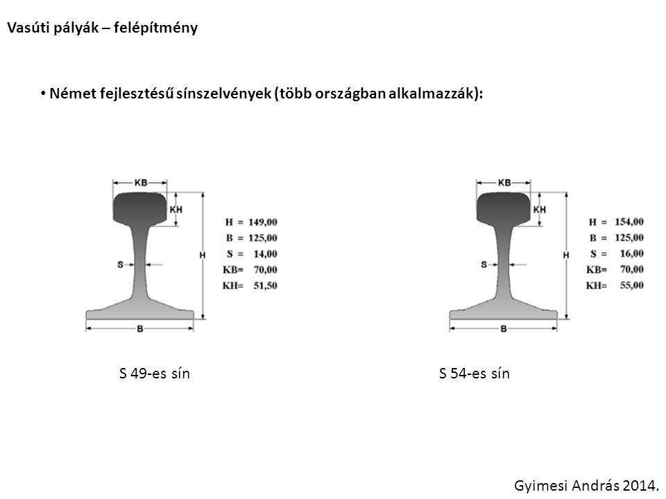 Vasúti pályák – felépítmény Német fejlesztésű sínszelvények (több országban alkalmazzák): Gyimesi András 2014. S 49-es sínS 54-es sín