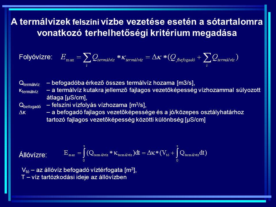 A termálvizek felszíni vízbe vezetése esetén a sótartalomra vonatkozó terhelhetőségi kritérium megadása Q termálvíz – befogadóba érkező összes termálvíz hozama [m3/s], κ termálvíz – a termálvíz kutakra jellemző fajlagos vezetőképesség vízhozammal súlyozott átlaga [μS/cm], Q befogadó – felszíni vízfolyás vízhozama [m 3 /s],  κ – a befogadó fajlagos vezetőképessége és a jó/közepes osztályhatárhoz tartozó fajlagos vezetőképesség közötti különbség [μS/cm] V tó – az állóvíz befogadó víztérfogata [m 3 ], Τ – víz tartózkodási ideje az állóvízben Folyóvízre: Állóvízre: