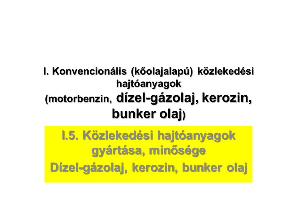 I. Konvencionális (kőolajalapú) közlekedési hajtóanyagok (motorbenzin, dízel-gázolaj, kerozin, bunker olaj ) I.5. Közlekedési hajtóanyagok gyártása, m