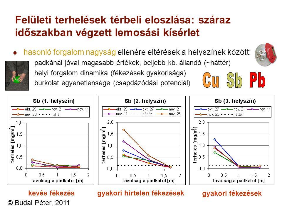 Felületi terhelések térbeli eloszlása: száraz időszakban végzett lemosási kísérlet hasonló forgalom nagyság ellenére eltérések a helyszínek között: pa