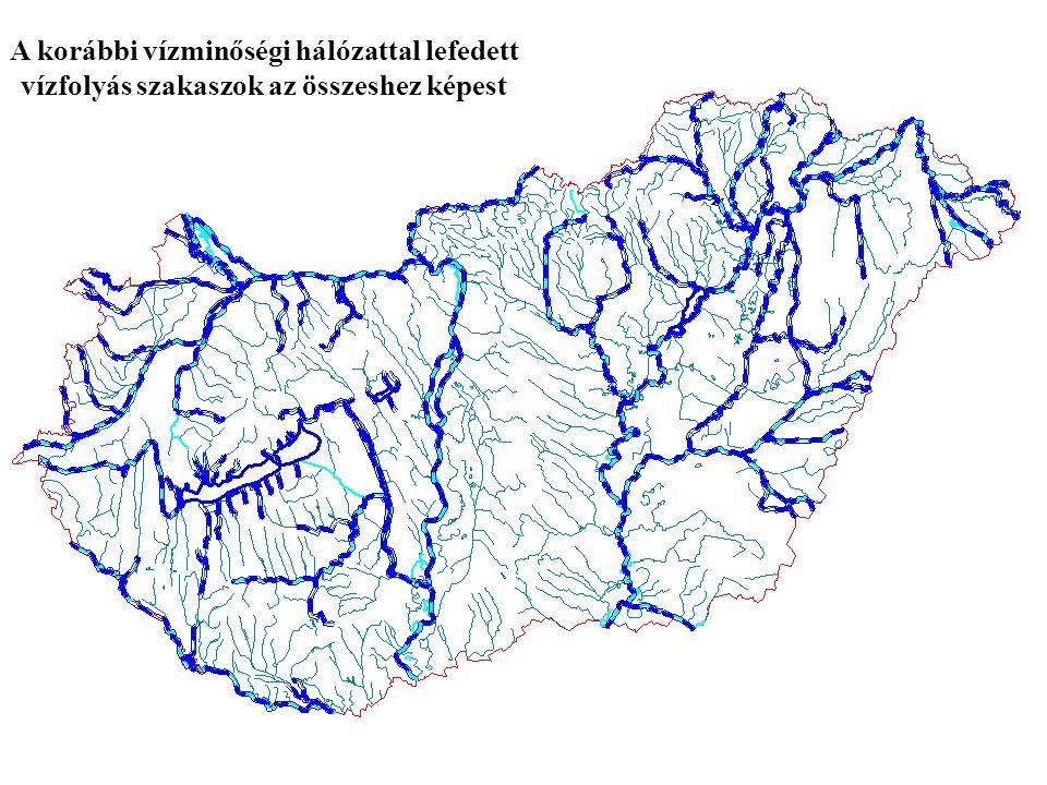 A korábbi vízminőségi hálózattal lefedett vízfolyás szakaszok az összeshez képest