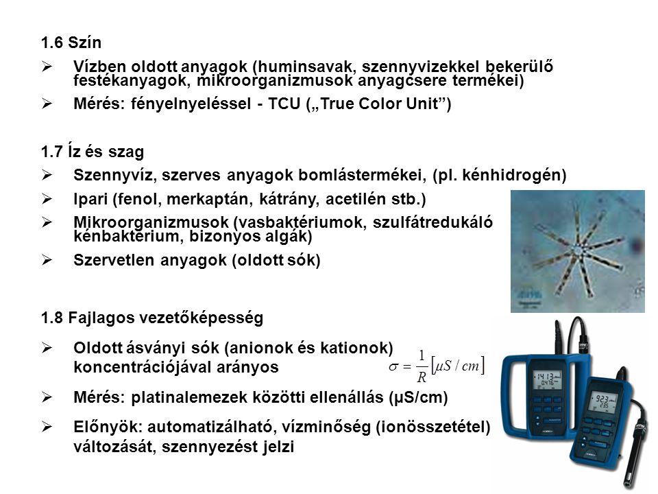 1.6 Szín  Vízben oldott anyagok (huminsavak, szennyvizekkel bekerülő festékanyagok, mikroorganizmusok anyagcsere termékei)  Mérés: fényelnyeléssel -