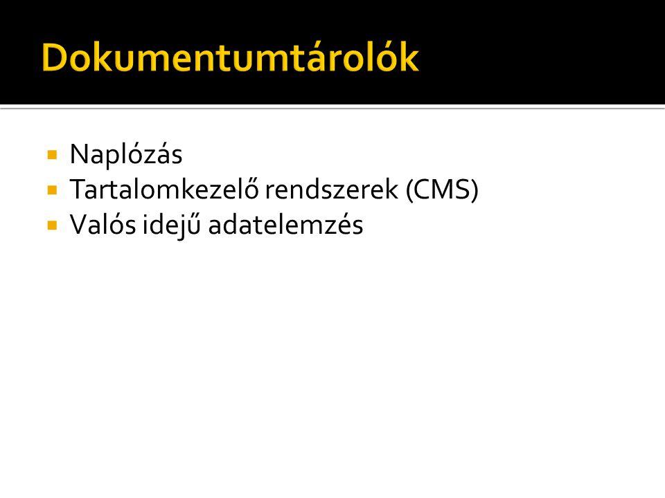  Naplózás  Tartalomkezelő rendszerek (CMS)  Valós idejű adatelemzés