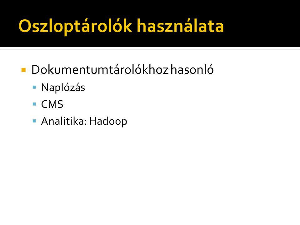  Dokumentumtárolókhoz hasonló  Naplózás  CMS  Analitika: Hadoop