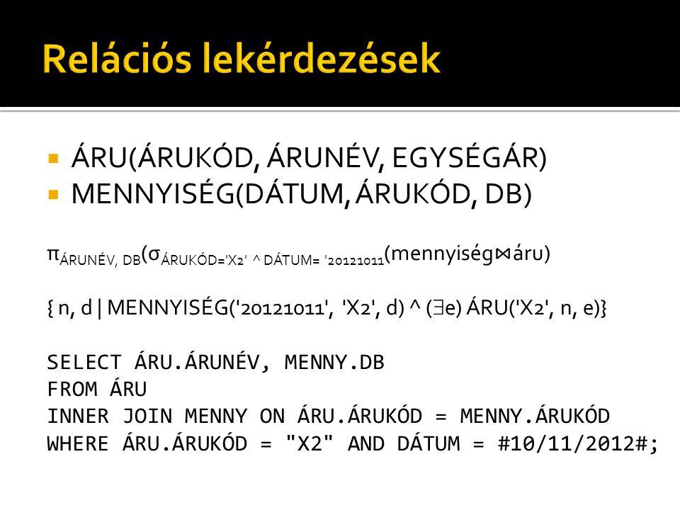  ÁRU(ÁRUKÓD, ÁRUNÉV, EGYSÉGÁR)  MENNYISÉG(DÁTUM, ÁRUKÓD, DB) π ÁRUNÉV, DB (σ ÁRUKÓD= X2 ^ DÁTUM= 20121011 (mennyiség ⋈ áru) { n, d | MENNYISÉG( 20121011 , X2 , d) ^ (  e) ÁRU( X2 , n, e)} SELECT ÁRU.ÁRUNÉV, MENNY.DB FROM ÁRU INNER JOIN MENNY ON ÁRU.ÁRUKÓD = MENNY.ÁRUKÓD WHERE ÁRU.ÁRUKÓD = X2 AND DÁTUM = #10/11/2012#;