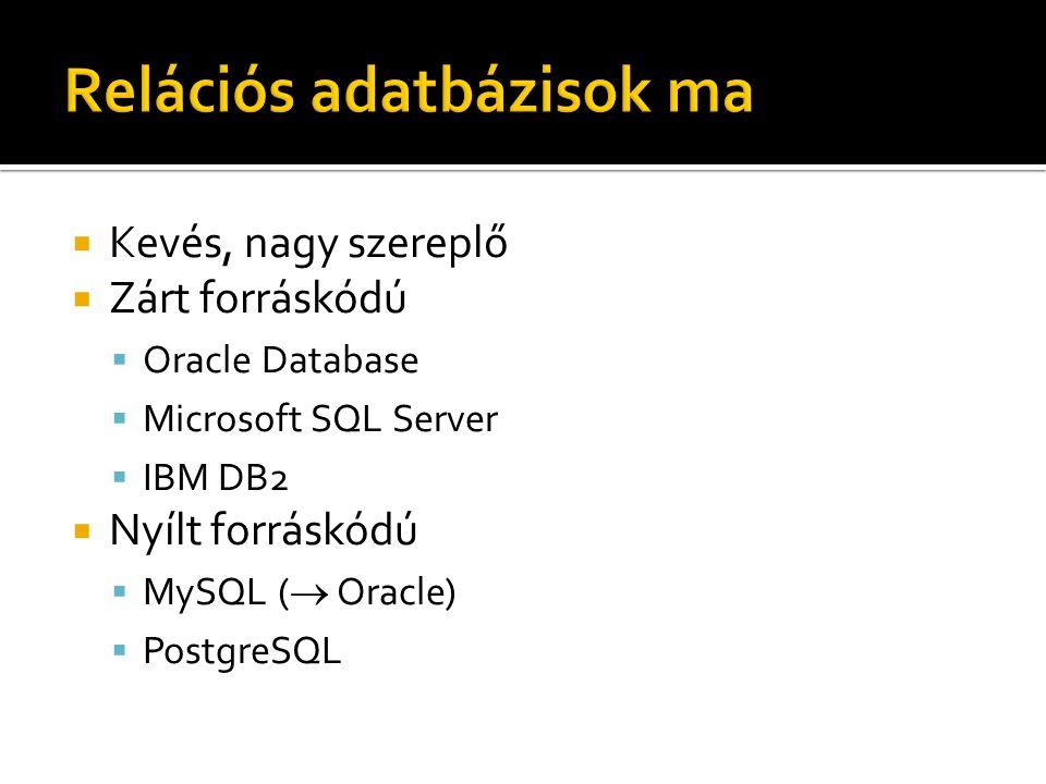  Kevés, nagy szereplő  Zárt forráskódú  Oracle Database  Microsoft SQL Server  IBM DB2  Nyílt forráskódú  MySQL (  Oracle)  PostgreSQL