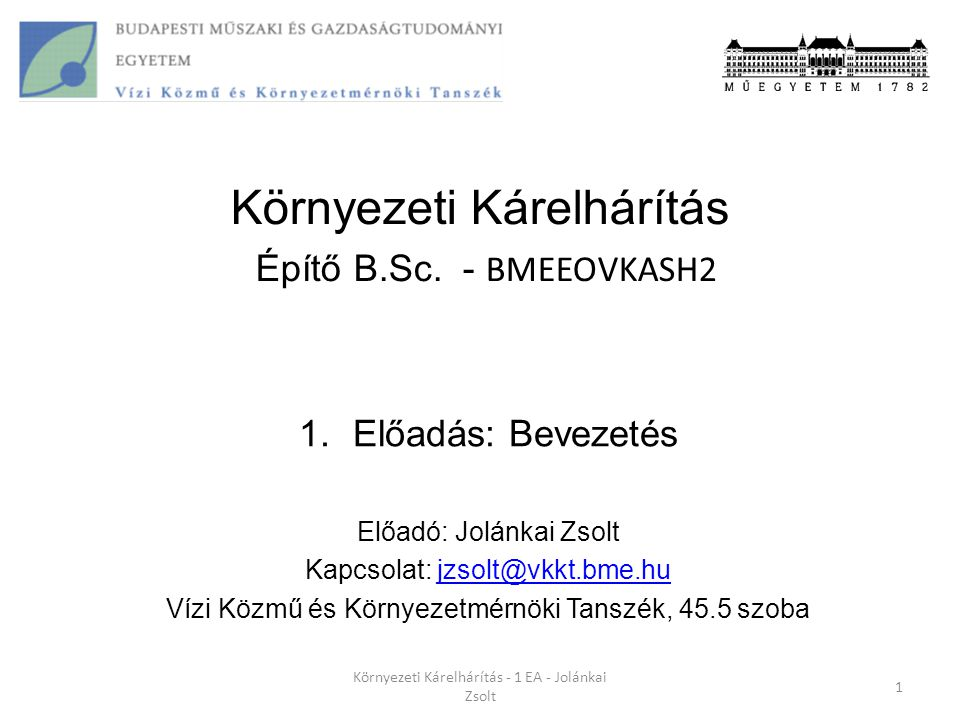 Szennyezőanyagok ismertetése 32 Környezeti Kárelhárítás - 1 EA - Jolánkai Zsolt Emberi tevékenységek szerint: Szerves anyag (lebomló) Legjellemzőbb szennyezőanyagok: Szervesanyag  BOI Szervetlen szennyezőanyagok: N, P Patogének: Baktériumok, vírusok Szennyező neveHatásmechanizmusHatásai Biológiailag lebomló szerves vegyületek Lebontó baktériumok gyors szaporodása  aerob lebomlás megy végbe, melynek során oxigént von el környezetéből A vízi ökoszisztéma egyes egyedeinek pusztulása következhet be