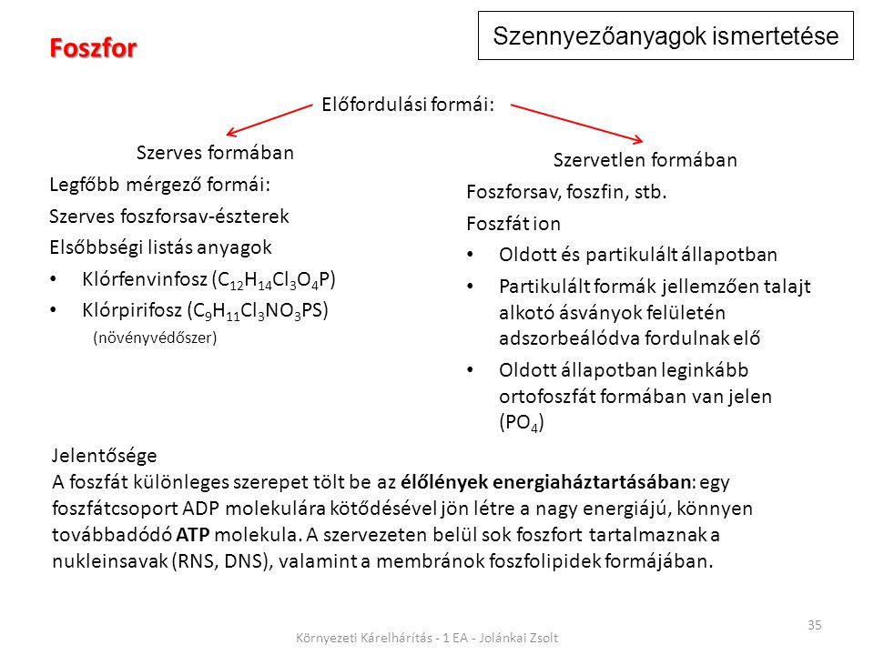 Szennyezőanyagok ismertetése 35 Környezeti Kárelhárítás - 1 EA - Jolánkai Zsolt Foszfor Szerves formában Legfőbb mérgező formái: Szerves foszforsav-észterek Elsőbbségi listás anyagok Klórfenvinfosz (C 12 H 14 Cl 3 O 4 P) Klórpirifosz (C 9 H 11 Cl 3 NO 3 PS) (növényvédőszer) Jelentősége A foszfát különleges szerepet tölt be az élőlények energiaháztartásában: egy foszfátcsoport ADP molekulára kötődésével jön létre a nagy energiájú, könnyen továbbadódó ATP molekula.