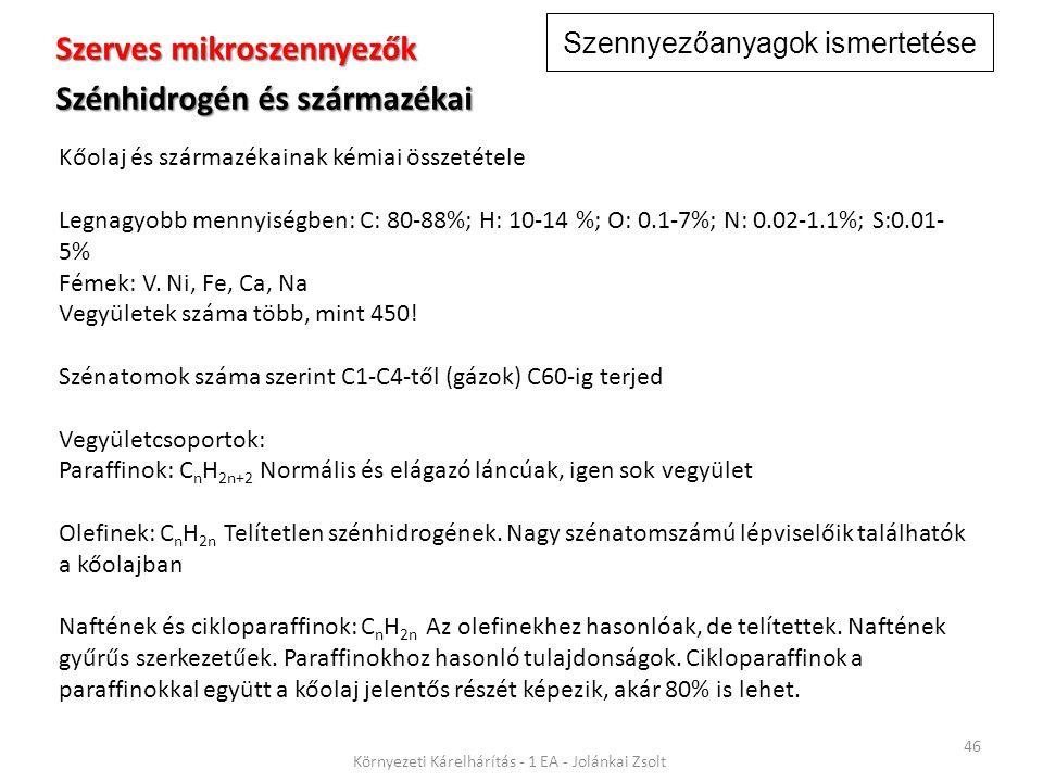 Szennyezőanyagok ismertetése 46 Környezeti Kárelhárítás - 1 EA - Jolánkai Zsolt Szerves mikroszennyezők Szénhidrogén és származékai Kőolaj és származékainak kémiai összetétele Legnagyobb mennyiségben: C: 80-88%; H: 10-14 %; O: 0.1-7%; N: 0.02-1.1%; S:0.01- 5% Fémek: V.