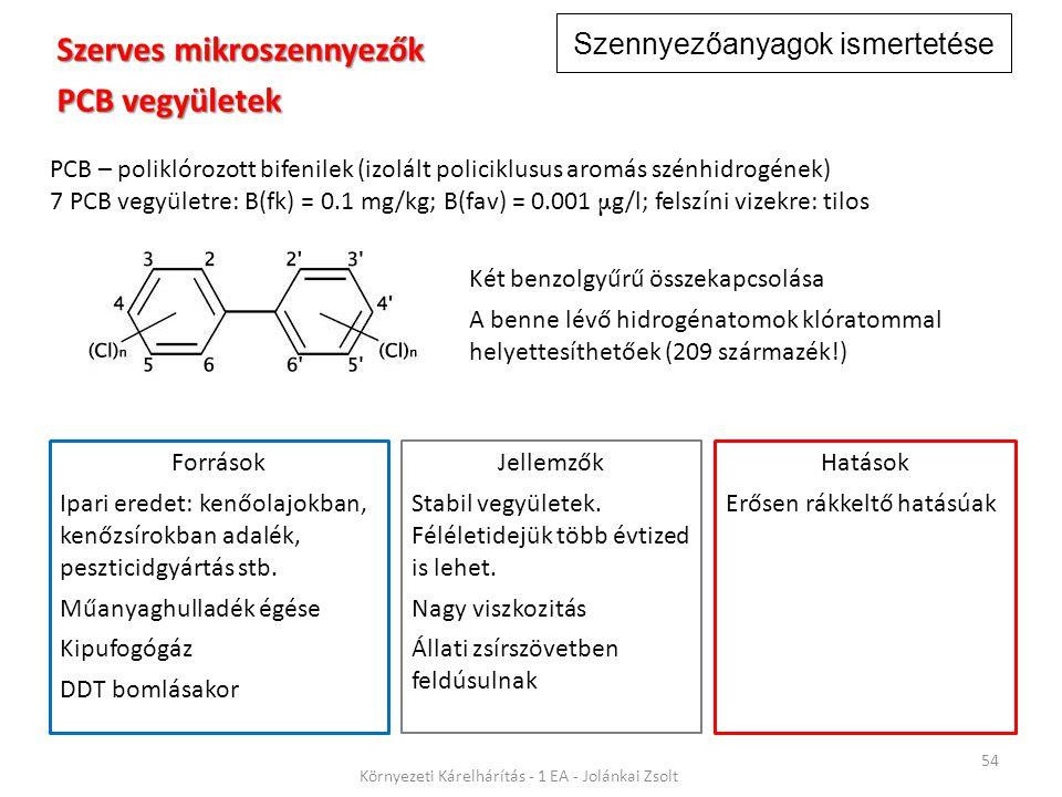 Szennyezőanyagok ismertetése 54 Környezeti Kárelhárítás - 1 EA - Jolánkai Zsolt Szerves mikroszennyezők PCB vegyületek PCB – poliklórozott bifenilek (izolált policiklusus aromás szénhidrogének) 7 PCB vegyületre: B(fk) = 0.1 mg/kg; B(fav) = 0.001 μ g/l; felszíni vizekre: tilos Jellemzők Stabil vegyületek.