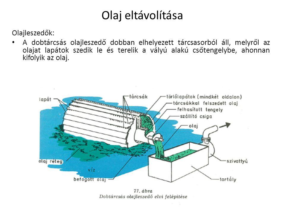 Olajleszedők: A dobtárcsás olajleszedő dobban elhelyezett tárcsasorból áll, melyről az olajat lapátok szedik le és terelik a vályú alakú csőtengelybe,