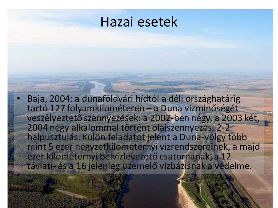 Hazai esetek Baja, 2004: a dunaföldvári hídtól a déli országhatárig tartó 127 folyamkilométeren – a Duna vízminőségét veszélyeztető szennyezések: a 2002-ben négy, a 2003 két, 2004 négy alkalommal történt olajszennyezés.