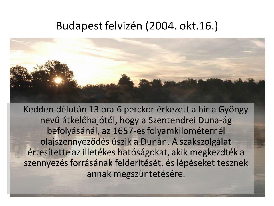 Budapest felvizén (2004. okt.16.) Kedden délután 13 óra 6 perckor érkezett a hír a Gyöngy nevű átkelőhajótól, hogy a Szentendrei Duna-ág befolyásánál,