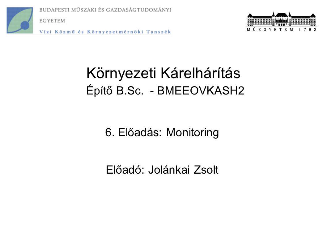 Környezeti Kárelhárítás Építő B.Sc. - BMEEOVKASH2 6. Előadás: Monitoring Előadó: Jolánkai Zsolt