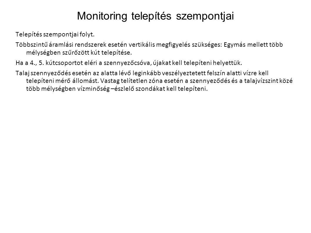 Monitoring telepítés szempontjai Telepítés szempontjai folyt. Többszintű áramlási rendszerek esetén vertikális megfigyelés szükséges: Egymás mellett t