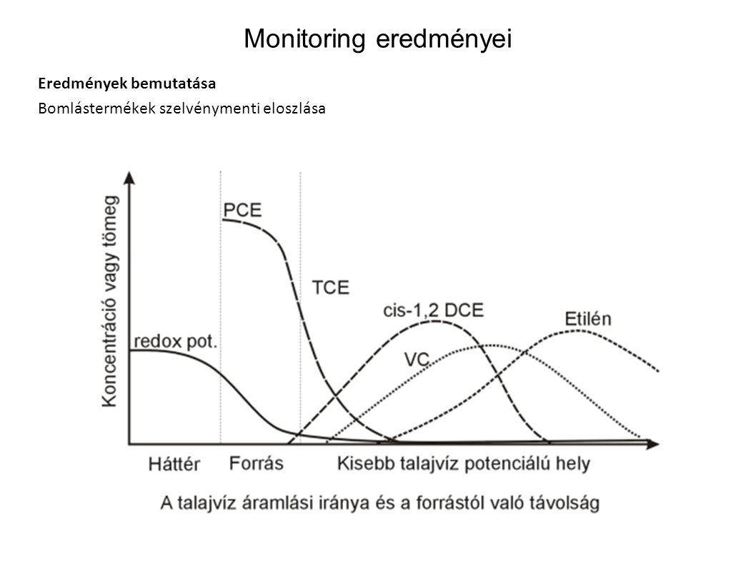 Monitoring eredményei Eredmények bemutatása Bomlástermékek szelvénymenti eloszlása