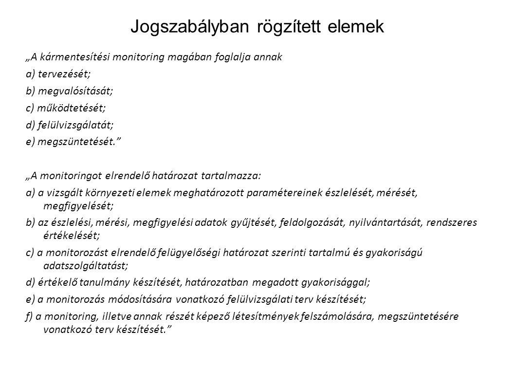 """Jogszabályban rögzített elemek """"A kármentesítési monitoring magában foglalja annak a) tervezését; b) megvalósítását; c) működtetését; d) felülvizsgála"""