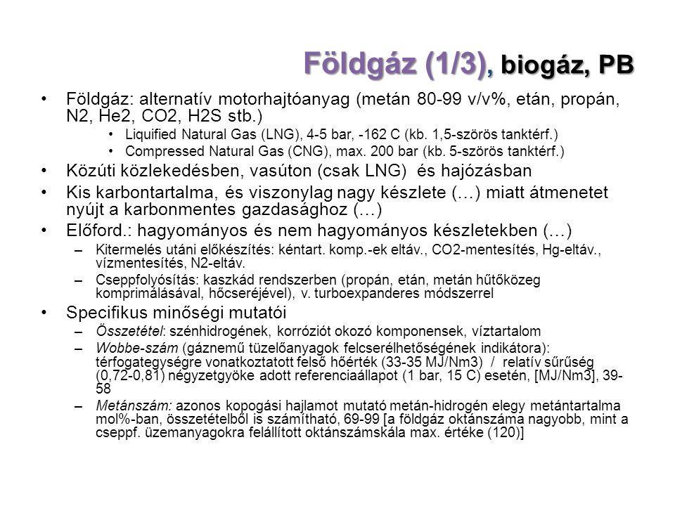 Földgáz (1/3), biogáz, PB Földgáz: alternatív motorhajtóanyag (metán 80-99 v/v%, etán, propán, N2, He2, CO2, H2S stb.) Liquified Natural Gas (LNG), 4-