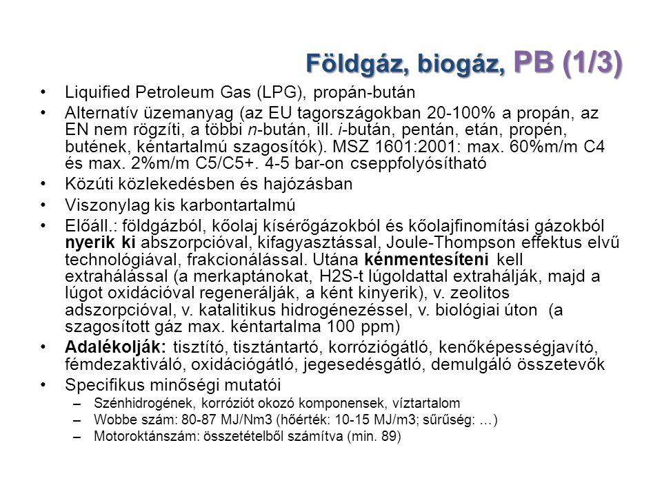 Földgáz, biogáz, PB (1/3) Liquified Petroleum Gas (LPG), propán-bután Alternatív üzemanyag (az EU tagországokban 20-100% a propán, az EN nem rögzíti,