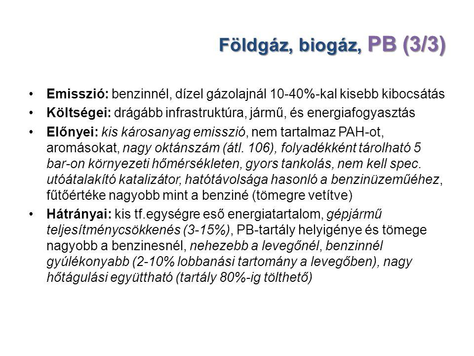 Földgáz, biogáz, PB (3/3) Emisszió: benzinnél, dízel gázolajnál 10-40%-kal kisebb kibocsátás Költségei: drágább infrastruktúra, jármű, és energiafogya