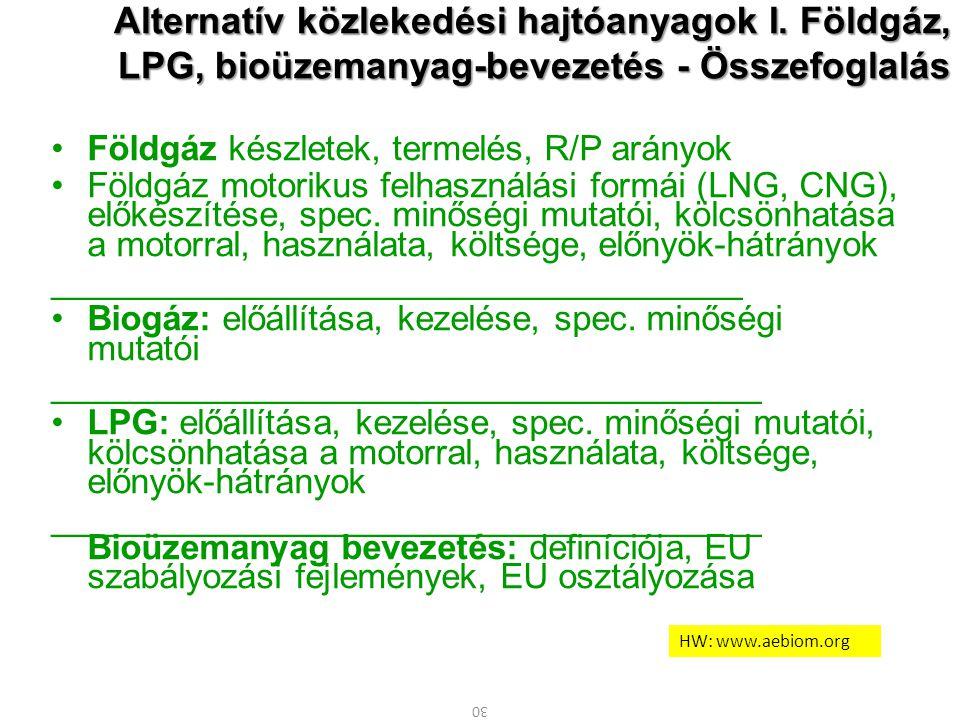30 Alternatív közlekedési hajtóanyagok I. Földgáz, LPG, bioüzemanyag-bevezetés - Összefoglalás Földgáz készletek, termelés, R/P arányok Földgáz motori