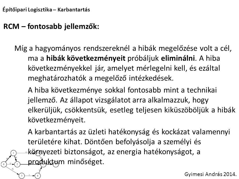 Építőipari Logisztika – Karbantartás Gyimesi András 2014. RCM – fontosabb jellemzők: Míg a hagyományos rendszereknél a hibák megelőzése volt a cél, ma