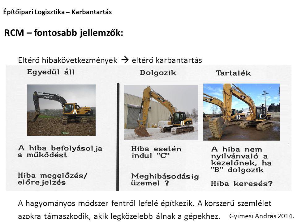 Építőipari Logisztika – Karbantartás Gyimesi András 2014. RCM – fontosabb jellemzők: Eltérő hibakövetkezmények  eltérő karbantartás A hagyományos mód