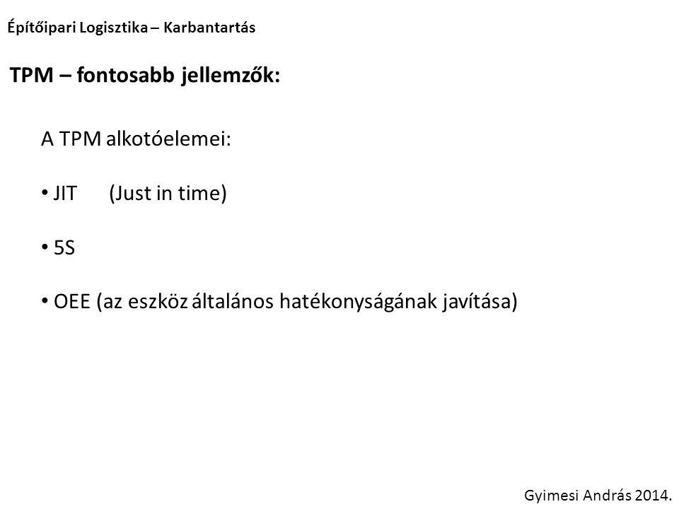 Építőipari Logisztika – Karbantartás Gyimesi András 2014. TPM – fontosabb jellemzők: A TPM alkotóelemei: JIT(Just in time) 5S OEE (az eszköz általános
