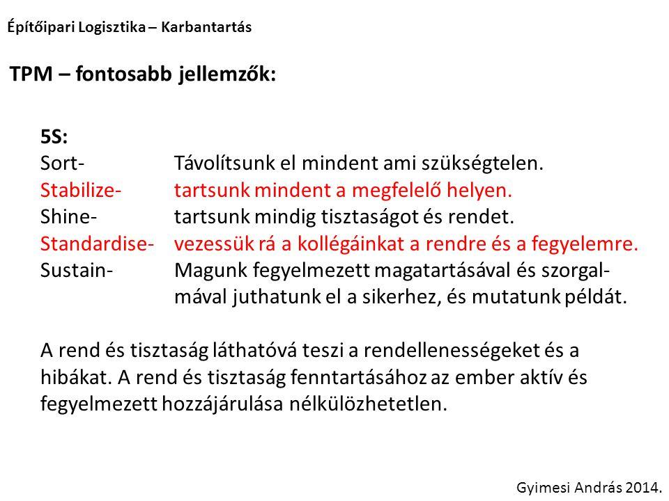 Építőipari Logisztika – Karbantartás Gyimesi András 2014. TPM – fontosabb jellemzők: 5S: Sort-Távolítsunk el mindent ami szükségtelen. Stabilize-tarts