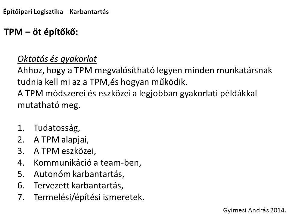 Építőipari Logisztika – Karbantartás Gyimesi András 2014. TPM – öt építőkő: Oktatás és gyakorlat Ahhoz, hogy a TPM megvalósítható legyen minden munkat