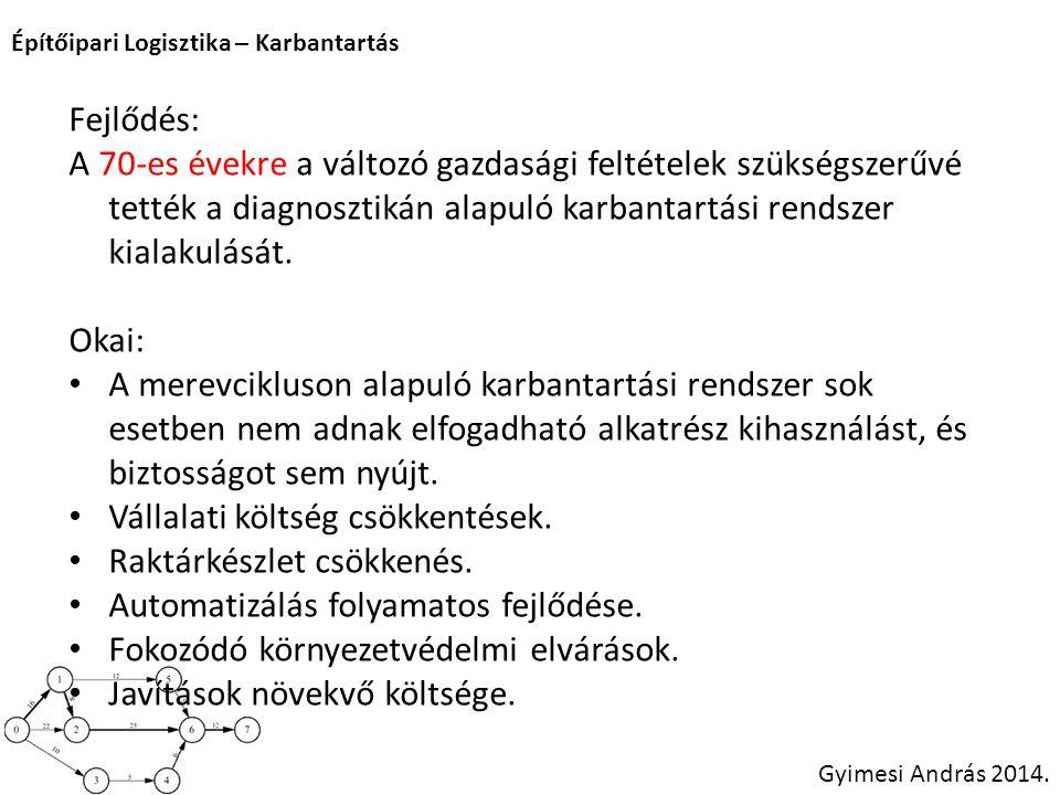 Építőipari Logisztika – Karbantartás Gyimesi András 2014. Fejlődés: A 70-es évekre a változó gazdasági feltételek szükségszerűvé tették a diagnosztiká