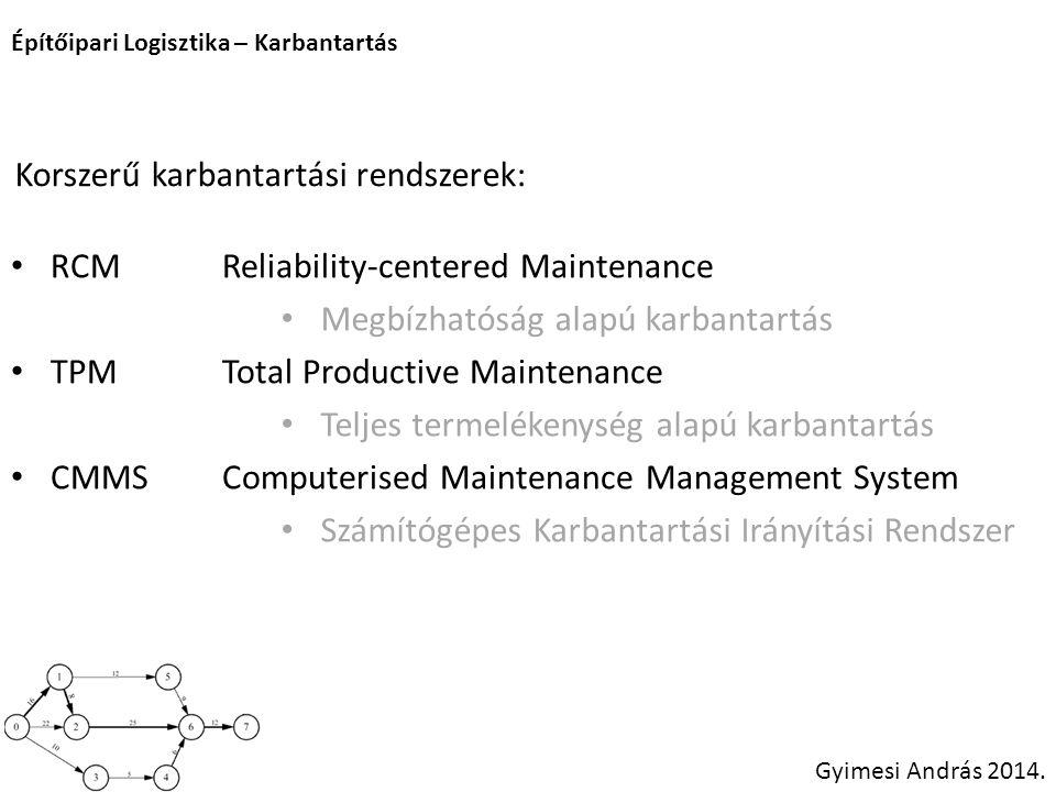 Építőipari Logisztika – Karbantartás Gyimesi András 2014. RCMReliability-centered Maintenance TPMTotal Productive Maintenance CMMSComputerised Mainten
