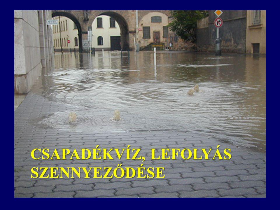 CSAPADÉKVÍZ, LEFOLYÁS SZENNYEZŐDÉSE