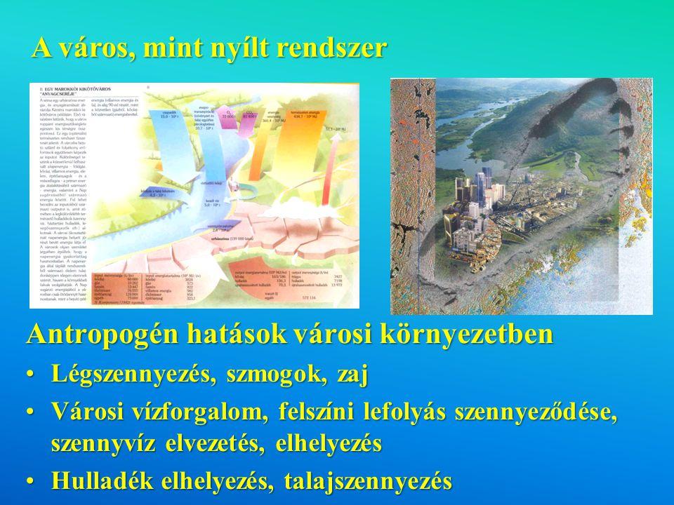 A város, mint nyílt rendszer Antropogén hatások városi környezetben Légszennyezés, szmogok, zajLégszennyezés, szmogok, zaj Városi vízforgalom, felszíni lefolyás szennyeződése, szennyvíz elvezetés, elhelyezésVárosi vízforgalom, felszíni lefolyás szennyeződése, szennyvíz elvezetés, elhelyezés Hulladék elhelyezés, talajszennyezésHulladék elhelyezés, talajszennyezés