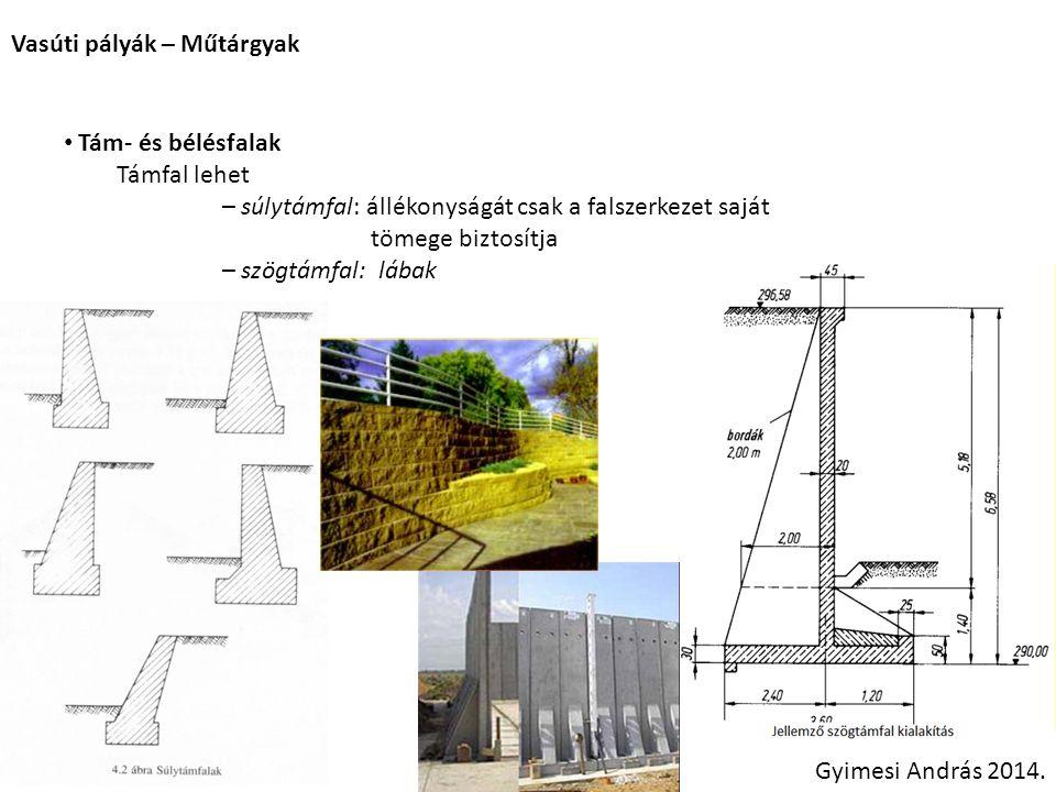 Vasúti pályák – Műtárgyak Gyimesi András 2014. Tám- és bélésfalak Támfal lehet – súlytámfal: állékonyságát csak a falszerkezet saját tömege biztosítja