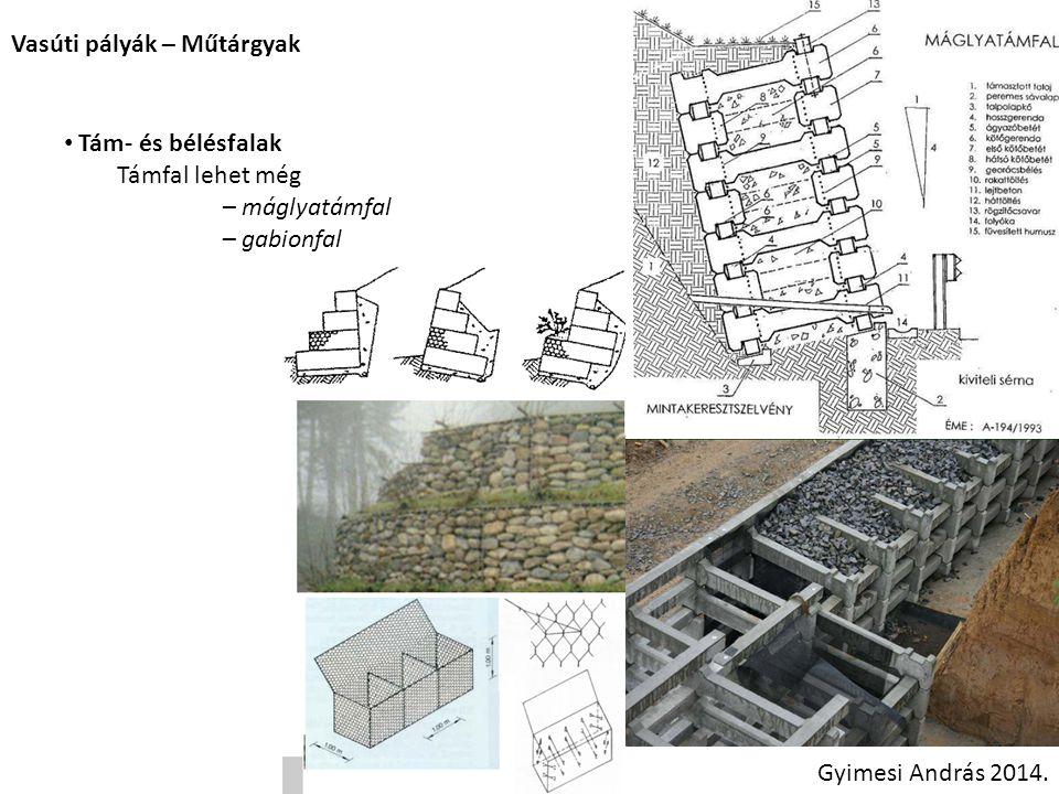 Vasúti pályák – Műtárgyak Gyimesi András 2014. Tám- és bélésfalak Támfal lehet még – máglyatámfal – gabionfal