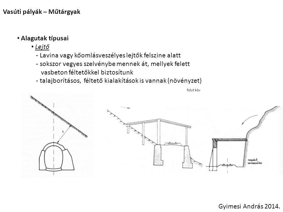 Vasúti pályák – Műtárgyak Gyimesi András 2014. Alagutak típusai Lejtő - Lavina vagy kőomlásveszélyes lejtők felszine alatt - sokszor vegyes szelvénybe